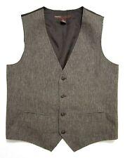 PERRY ELLIS Brown Vest M ~ Linen Cotton ~ SUMMER waistcoat WEDDING ~ MINT