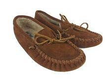 Minnetonka Leather Moccasins Shoes Women's Size 9 Brown Suede Slippers