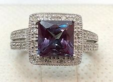 10k White Gold Lab Alexandrite Diamond Milgrain Halo Split Shank Ring