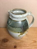"Gray Stoneware Pottery Pitcher 7""  in Dark Blue Glaze - Artisan made"