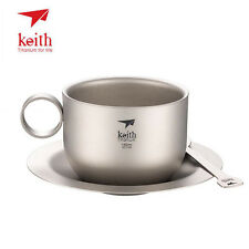 Keith Ultralight Titanium Coffee Cup Tea Cup with Tray Spoon Camping Mug 150ml