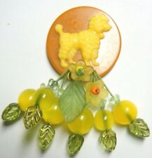 ARTIST BROOCH BAKELITE Poker CHIP LUCITE yellow POODLE Dangling CHERRY Retro Pin