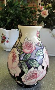 """Beautiful  MOORCROFT  """" Pink Roses """"  Trial Vase   1st Quality   Excellent Cond."""