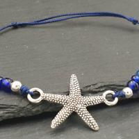 Seestern Armband silber-blau mit Glasperlen