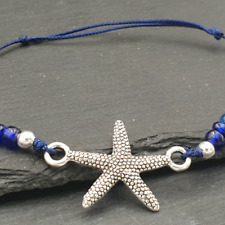 Starfish Bracelet Silver-Blue with Glass Pearls