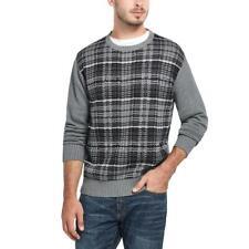 Weatherproof Vintage Mens Cotton Ribbed Trim Plaid Crewneck Sweater BHFO 4735