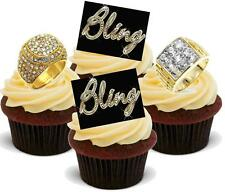 12 Novelty VANILLA STAND UPS Bling 2 Ring Male Mix Edible Wafer Cake Topper Rock
