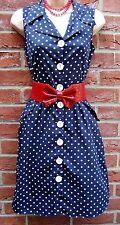 SIZE 10 VINTAGE STYLE 40'S 50'S WW2 LANDGIRL TEA SHIRT DRESS NAVY# US 6 EU 36