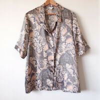 Vintage Blush Grey Baroque Paisley Satin Button Up Shirt Blouse Size14-16-18 90s