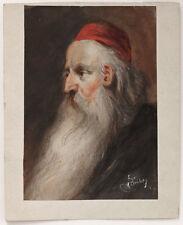 1900s painting by Austrian artist Jewish elderly man, rabbi, Judaica, signed