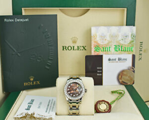 ROLEX Ladies 18kt White Gold Pearlmaster Tahitian MOP Diamond 80299 SANT BLANC
