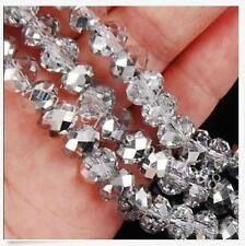 100pcs 4X6mm silvery Crystal Faceted Gems Loose Beads 5040 AAA