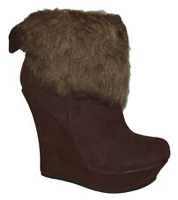 New Brown Faux Leather Suede Fur WEDGE PLATFORM WOMEN ANKLE BOOTIES Boots Sz 8