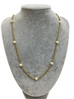 """Vintage Signed Trifari Necklace Gold Tone Rope Chain w Faux Pearl Stations 24"""""""