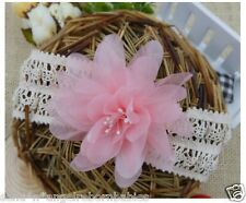 VINTAGE STYLE Lace Headband with Flower and Stamen for Reborn Baby or Newborn