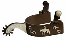 Adult Western Saddle Horse Spurs Antique Brown w/ Silver Horse and Rider Overlay