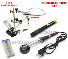 Soldering Tool Kit 60W Solder Iron, (2) Solder Wire, LED Helping Hand & Pump