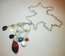 Sterling Silver .925 Necklace with Semi-Precious Gemstones