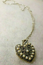 Sterling Silver Marcasite & Pearl Filigree Heart Locket/ Sterling Silver Chain