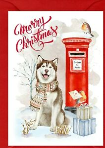 "Siberian Husky Dog A6 (4""x 6"") Christmas Card (Blank inside) by Starprint"