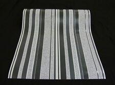 9602-15-) 6 Rollen edle Vinyltapeten gestreift schwarz grau silber mit Glanz