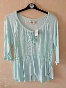 HOLLISTER WOMENS NEW GREEN TUNIC TOP LADIES UK PLUS SIZE 16-18 L 'S72