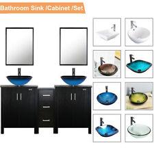"60"" Black Bathroom Vanity Mirror Cabinet Set Vessel Glass Ceramic Sink Faucet Us"