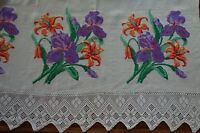 Vintage Bedcover Throw Embroidery Homespun Linen CrossStitch Irises Lace Ethnic