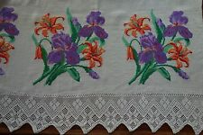 More details for vintage bedcover throw embroidery homespun linen crossstitch irises lace ethnic