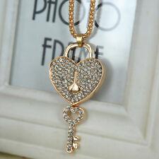 Love Lock Key Sweater Bead Necklace Rhinestone Crystal Pendant Valentine Gift