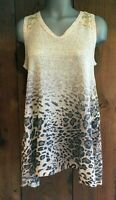 NWT Vocal ANIMAL  leopard CAMI SHIRT LACE Sexy Tunic tank SM MED LG  WESTERN