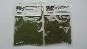 Static Grass Twin Pack 2mm & 4mm - Meadow Green - Grass Flock First Class P&P