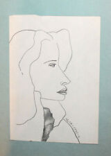 1992 Surrealist woman portrait pencil painting signed