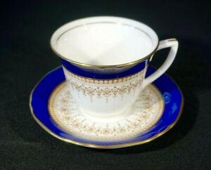 Beautiful Royal Worcester Regency Blue Demitasse And Saucer