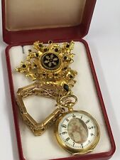 Antique Gilt Silver Mourning Pocket Watch & 9ct Solid Gold Watch Chain / Fob