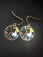 Alice In Wonderland Fairytale Clock Rabbit ACe Retro Gold Dangle Style Earrings