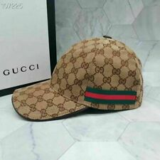 New GUCCI Adjustable Unisex GG Canvas Baseball Cap Size M Khaki