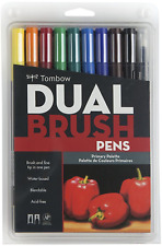 Tombow ABT Dual Brush Pen Art Markers - Brush and Fine Tip - Set of 10 - Primary