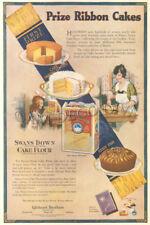 VTG 1920 Swans Down Flour PRIZE RIBBON CAKE State Fair Mother BAKING Kitchen Ad