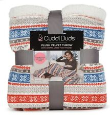 "CUDDL DUDS 60x70"" Blue & Gray MULTICOLOR SOFT PLUSH VELVET FOOTED THROW BLANKET"