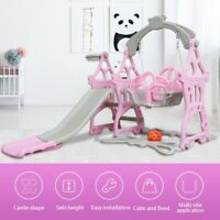 3 in 1 Swing Set For Backyard Playground Slide Playset Outdoor Toddler Kids Pink
