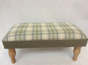 Footstool upholstered in a 100% Wool check Oban Atlantic Breeze