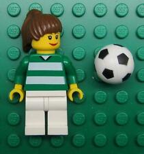 LEGO GIRL WOMAN FEMALE SOCCER PLAYER MINIFIG LOT town city brown hair