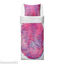 IKEA STAHEJ - Duvet Cover and Pillowcase Twin Size White Pink Fingerprint