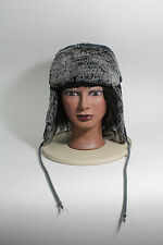 Black & Gray Acrylic Knit Trapper HAT With Gray With Black Faux Fur