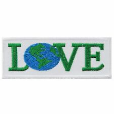 Love Save The Earth World Protect Peace Globe Ecology Green Iron on Patches 1677