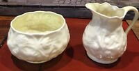 Vintage Belleek Fine China Creamer and Sugar Bowl Ireland 1946 - 1955 Excellent