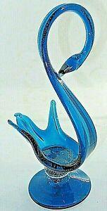 Art Glass Blue Aqua Swan Stretching Arching  Figurine Statue on Plinth 22CMT