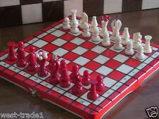 Brand New Red Hand Crafted  Wooden Chess Set 31.5cm x 31.5cm