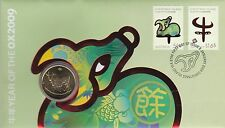 2009 Christmas Island Australia PNC, $1 Uncirculated Coin, Year of the Ox